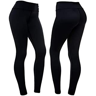 CompressionZ High Waisted Women's Leggings - Compression Pants for Yoga Running Gym & Everyday Fitness (Black, XL)