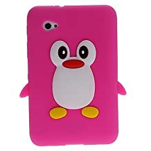 Tsmine Samsung Galaxy Tab 2 7.0-inch GT-P3113 P3100 P3110 Cartoon Case, Cute 3D Penguin Animal Soft Silicone Rubber Back Cover Case for Samsung Galaxy Tab 2 7-Inch (2012 Model)- Hot Pink