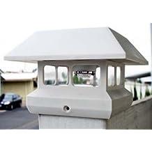 2-Pack White 4 x 4 Fence Post Cap Solar Lights 5 LEDs-Lavender (default)
