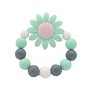 Anniston Baby Accessories, Colorful Beads Sunflower Bracelet Soft Silicone Baby Teether Chew Teething Toy Perfect Fun time Play Activity for Infants & Toddlers, Green