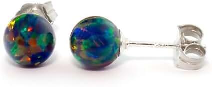 Trustmark 925 Sterling Silver 6mm Black Created Opal Ball Stud Post Earrings, Aurora