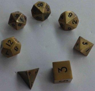 Metal Dice Polyhedral Set of 7 die (7) Antique Gold