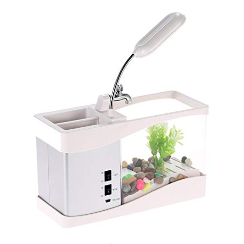 White Black Electronic USB Mini Aquarium Desktop Mini Fish Tank with Water Running LED Pump Light Calendar Clock Aquatic Supply   White, M,