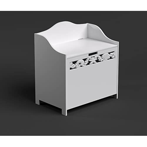 White Bathroom Ottoman Storage Chest Towel Cupboard Wooden Cabinet Coral