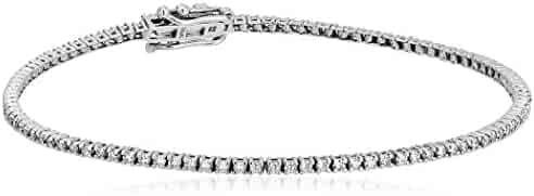 1 Carat Certified 14K White Gold Diamond Tennis Bracelet with Double Click Safety Clasp