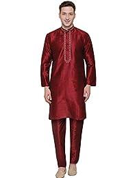 Maple Clothing Men's Kurta Pajama Dupion Silk India Party Wear