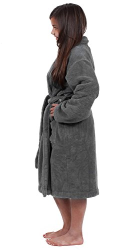 Turkuoise Girls Ultra Soft Plush Bathrobe Made in Turkey (Large (Ages 9-12), Gray)