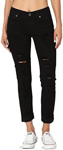 TheMogan Roll Up Relaxed Stretch Skinny Jeans in Distressed Medium Blue Wash
