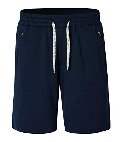 Derminpro Men's Drawstring Summer Shorts Casual Beach Shorts with Zipper Pockets Dark Navy Large
