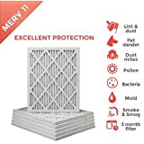 20x25x1 MERV 11 ( MPR 1000 ) Pleated AC Furnace Air Filter - 6 Pack