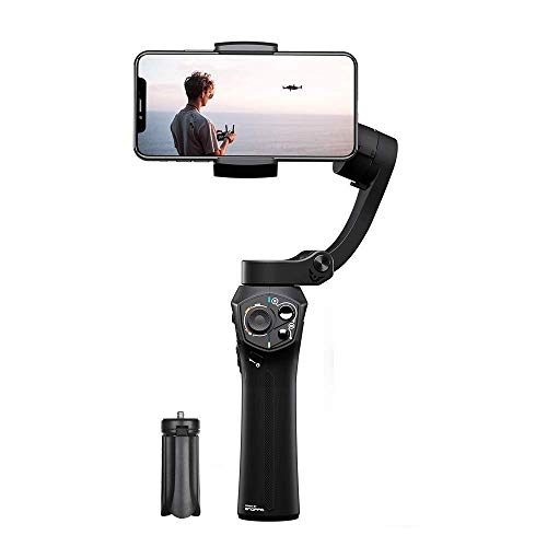 Snoppa Atom 3 Axis Foldable Gimbal for Smartphone & GoPro Hero 4 5 6, 310g Payload, Wireless Charging, Built-in Mic Jack, One-Key Switch V/H Orientation, Mini Tripod, Black