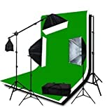 GTAPhotoStudio 2400w Photo/Video Softbox Continuous Light Kit with 6x9ft Green, Black and White Backdrops and Backdrop Stand