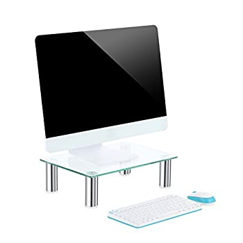 Black Friday Deals TAVR Clear Computer Monitor Stand Desktop Riser with Tempered Glass Chrome Aluminum Legs for Flat Screen LCD LED TV, Laptop/Notebook/Xbox One CM2002