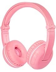 BuddyPhones Play Sakura Pink, Wireless Bluetooth Volume-Limiting Kids Headphones, 14-Hour Battery Life, 4 Volume Settings of 75, 85, 94dB and StudyMode, Includes Backup Cable for Sharing