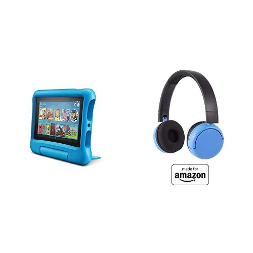 Fire 7 Kids Tablet 16GB Blue with Poptime (Ages 8-15) Bluetooth Headset