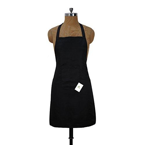 HomeStrap Polyester Waterproof Black Apron – Pack of 2