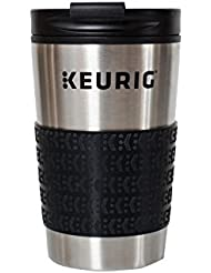 Keurig 12oz Stainless Steel Insulated Coffee Travel Mug, Fits Under Any Keurig K-Cup Pod Coffee Maker (including K-15/K-Mini),  Silver