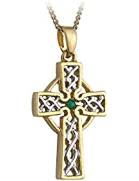 Filigree Celtic Cross Necklace Silver & Gold Plated Irish Made