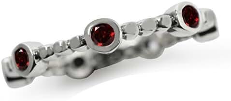 Natural Garnet 925 Sterling Silver Stack/Stackable Ring