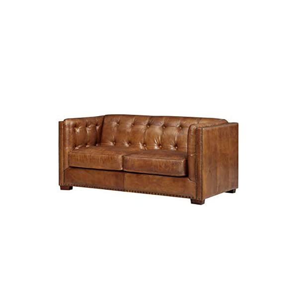 Crafters and Weavers Top Grain Vintage Leather Tuxedo Love Seat, Light Brown