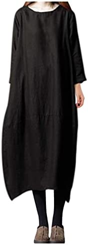 Letdown Women Loose Cotton and Linen Maxi Long Dress 3/4 Sleeve Solid Loose Party Casual Long Dresses Beach Su