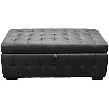 Bonded Leather Lift Top Tufted Storage Trunk