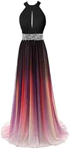 8a0c3d7431c Beaded Top Gradient Evening Prom Dresses Ombre Long A Line Chiffon  Bridesmaid Dress Formal Gowns 2019