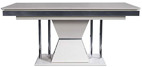 Casa Padrino Mesa de Comedor Art Deco Blanco/Gris/Plata 164 x 92 x A. 77 cm - Mesa de Cocina - Muebles de Comedor Noble Art Deco
