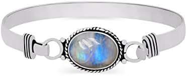 Genuine Gemstone Oval Shape 925 Silver Overlay Handmade Cuff Bangle Jewelry