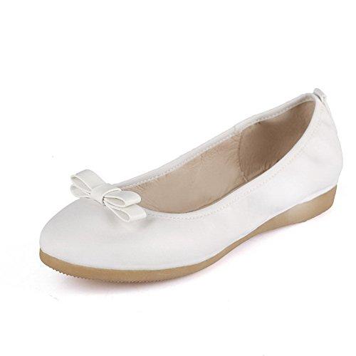 AgooLar Damen Ziehen auf Rund Niedriger Absatz Blend-Materialien Rein Rund auf Zehe Pumps Schuhe Weiß 09ae7d