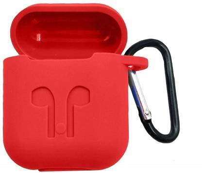 RIVES Silicone Shock Proof Protection Case Cover with Key Chain for Apple AirPods Wireless Headset (Red)
