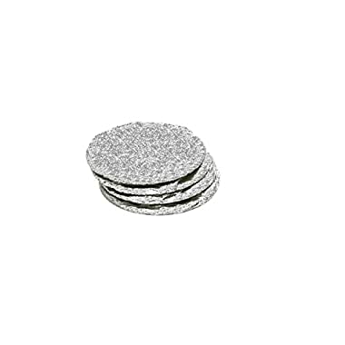 Renee Redesigns Round Hand Painted Silver Glitter Slate Drink Coasters with Metallic Ribbon and Silver Eyelet Detailing, Gift Set of 4 | Protects Table Surfaces | For Hot & Cold Beverages and Candles