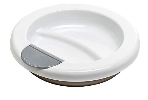 Rotho Babydesign Plato termo, A partir de 6 Meses, Alimentacion moderna, 20,5 x 20,5 x 4,6 cm, Blanco/Plata perla/Marron, 30020025601