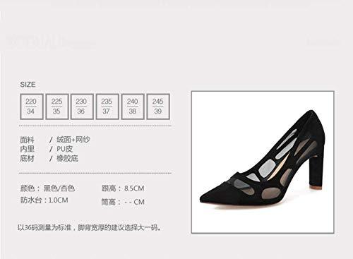 GTVERNH Moda/scarpe da donna/9Cm Tacco Moda Alto Estate Di Moda Tacco Semplice Dura Tacco Punta Sexy Tronco Di Scarpe Da Donna.36 Colore Albicocca Apricot color 067a9d