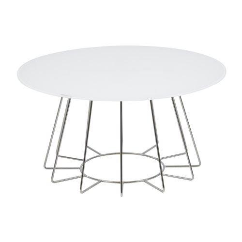 Lounge-zone Couchtisch Wohnzimmertisch CASIANO Tischplatte Glas weiß Gestell Metall weiß lackiert rund Durchmesser 80cm  13500