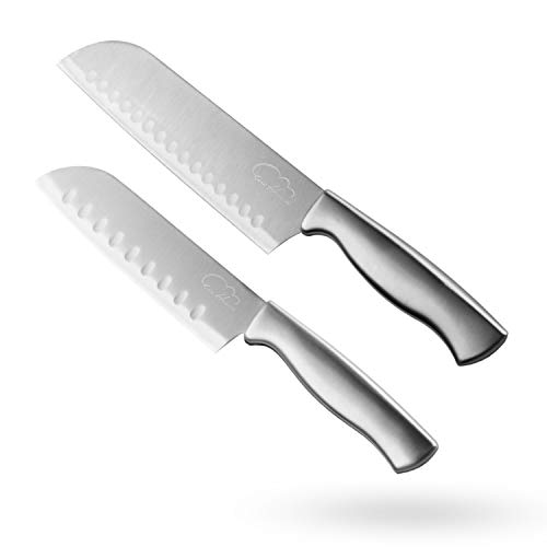Santoku Knife Set, 2 Pieces Kitchen Chef Knife 5-Inch 7-Inch Hollow Edge Santoku Knife, Professional Japanese Chef Knife Set for Home Kitchen, Black/Stainless Steel