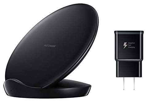 Samsung Qi Certified Fast Charge Wireless Charger Stand (2018 Edition) Universally Compatible with Qi Enabled Smartphones – US Version – Black – EP-N5100TBEGUS