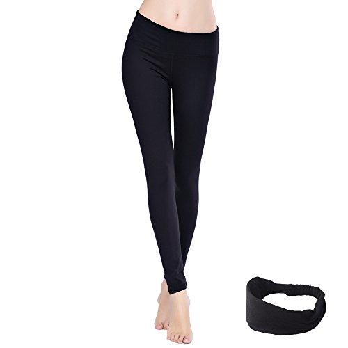 Damen lang Leggings Yoga Sport Training Fitness Jogginghosen (S Schwarz)