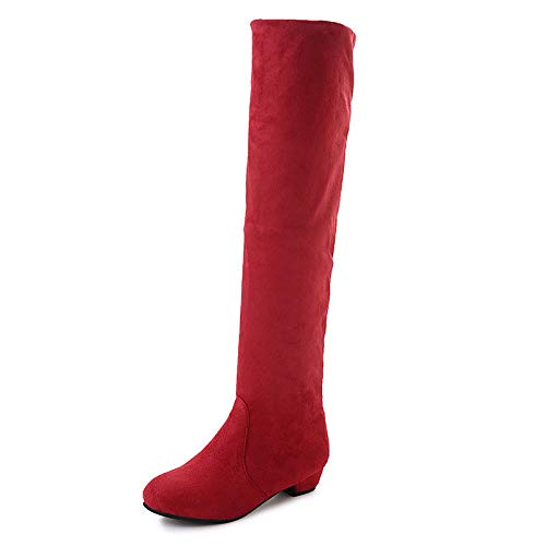 Red US10.5   EU42   UK8.5   CN43 Red US10.5   EU42   UK8.5   CN43 Women's shoes Elastic Fabric Fall & Winter Slouch Boots Boots Low Heel Round Toe Knee High Boots Side-Draped Brown Red   bluee Party & Evening