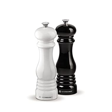 Le Creuset Salt and Pepper Mill Set, Black and White