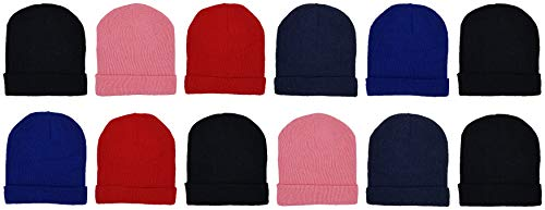 12 Pack Winter Beanies, Kids, Warm Cold Weather Hats Cuffed Skull Cap Boys Girls Children (Assorted Solids)