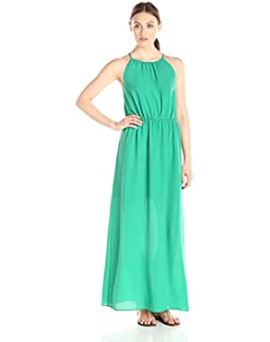 Women's Blouson Gathered-Neck Maxi Dress
