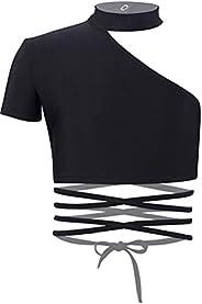 YOOJIA Kids Girls Halter Neck Plain Short Sleeve Sash Dance T-Shirt Crop Top Active Shirts Tees