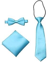 GUCHOL Boys Bow Tie Pocket Square Necktie - 3 Piece Set for Kids with Wedding Praty (Sky Blue, 1-6 Year)