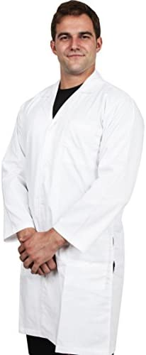Utopia Wear Professional Men Lab Coat (White) for Laboratory with 5 Button Closure, 41 inch Kick Pleat – Poly Cotton Material
