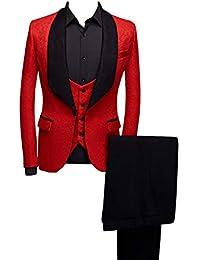 Shawl Lapel Man Suit Groom Wedding Men's Blazer Groomsmen Suits 3 Pieces Jacket Vest Pants Tie