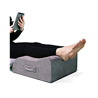 LightEase Leg Elevation Pillow, Memory Foam Leg Elevating Support Wedge Pillow for Sleeping, Reading, Rest, Surgery, Injury, Relieve Back Hip Knee Pain, Improve Blood Circulation, Reduce Swelling