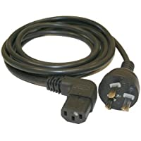 Interpower 86270040 Argentina Cord Set, IRAM 2073:1982 Plug Type, Angled IEC 60320 C13 Connector Type, Black Plug Color, Black Cable Color, 10A Amperage, 250VAC Voltage, 2.5m Length