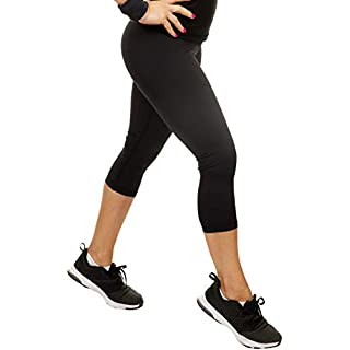 CompressionZ Compression Capri Leggings for Women - Yoga Capris, Running Tights, Gym - High Waisted Pants (Black, XL)