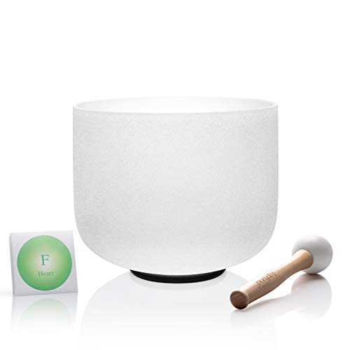 TOPFUND Quartz Crystal Singing Bowl F Note Heart Chakra 8 inch, O-ring and Rubber Mallet Included